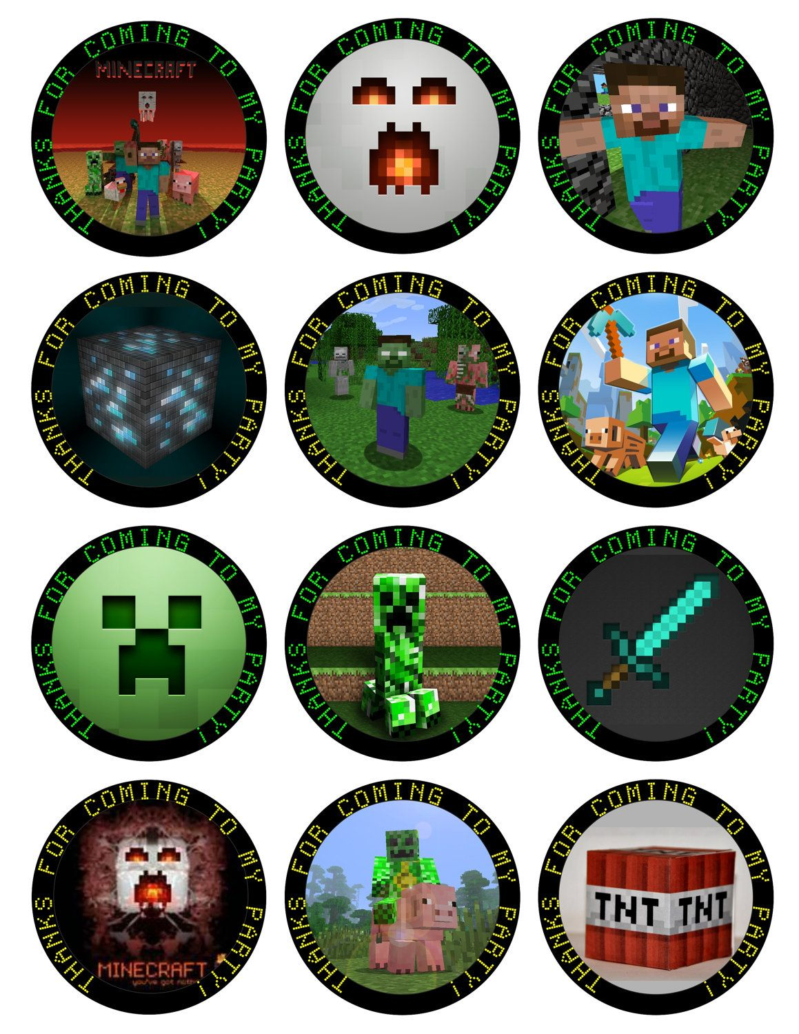 Minecraft Printable Birthday Party Cupcake Toppers Favor