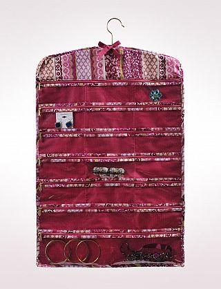 DRESS BARN Hanging Jewelry Organizer with Zippered Pockets
