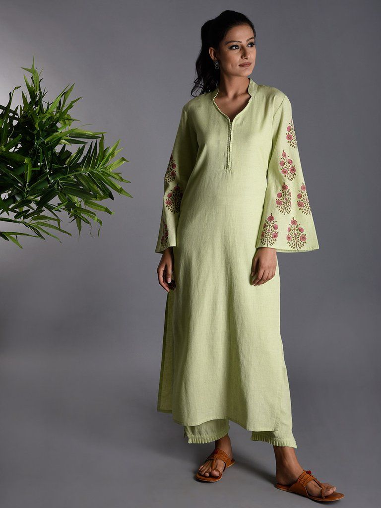 d85c06ddd9c Light Green Hand Block Printed Khadi Kurta | The Loom Ethnic Wear ...
