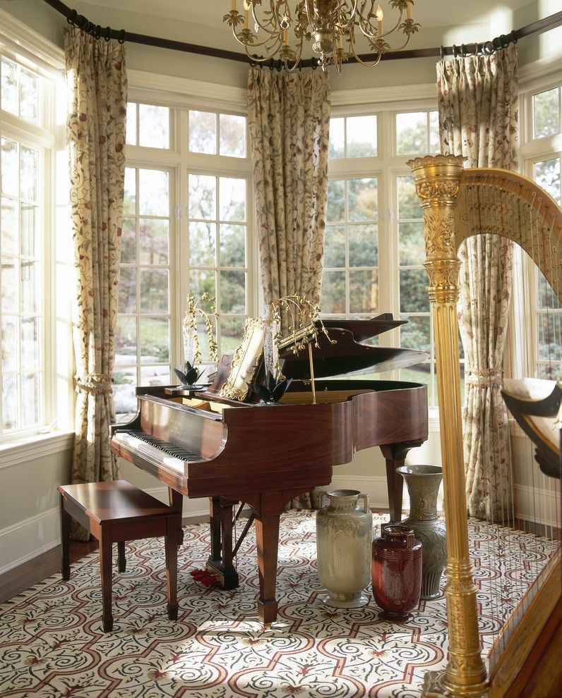 Piano room designs room decoration ideas for cute living for Cute curtain ideas for living room
