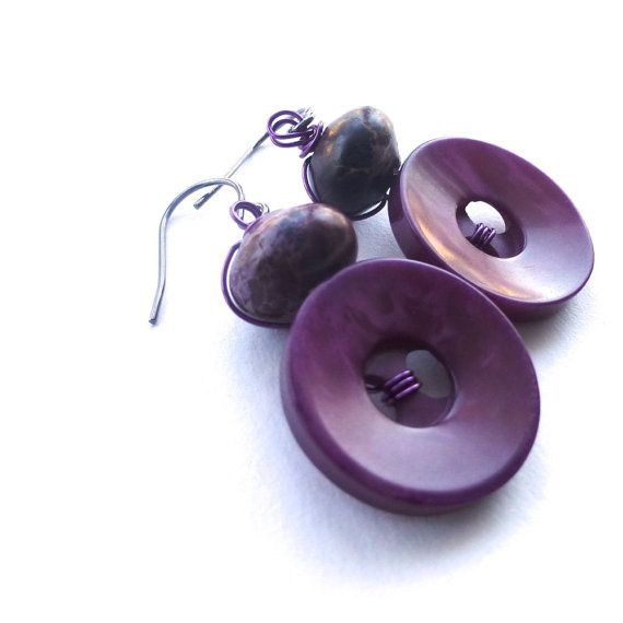 Berry Violet Vintage Button Dangle Earrings by buttonsoupjewelry