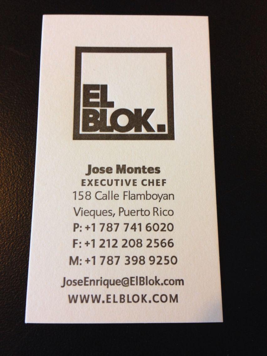 Letterpress Business Cards For El Blok On Strathmore Soft White 110