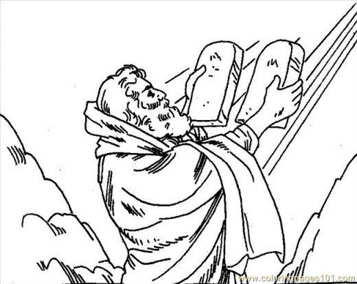 Coloring Page Of Moses And 10 Commandments