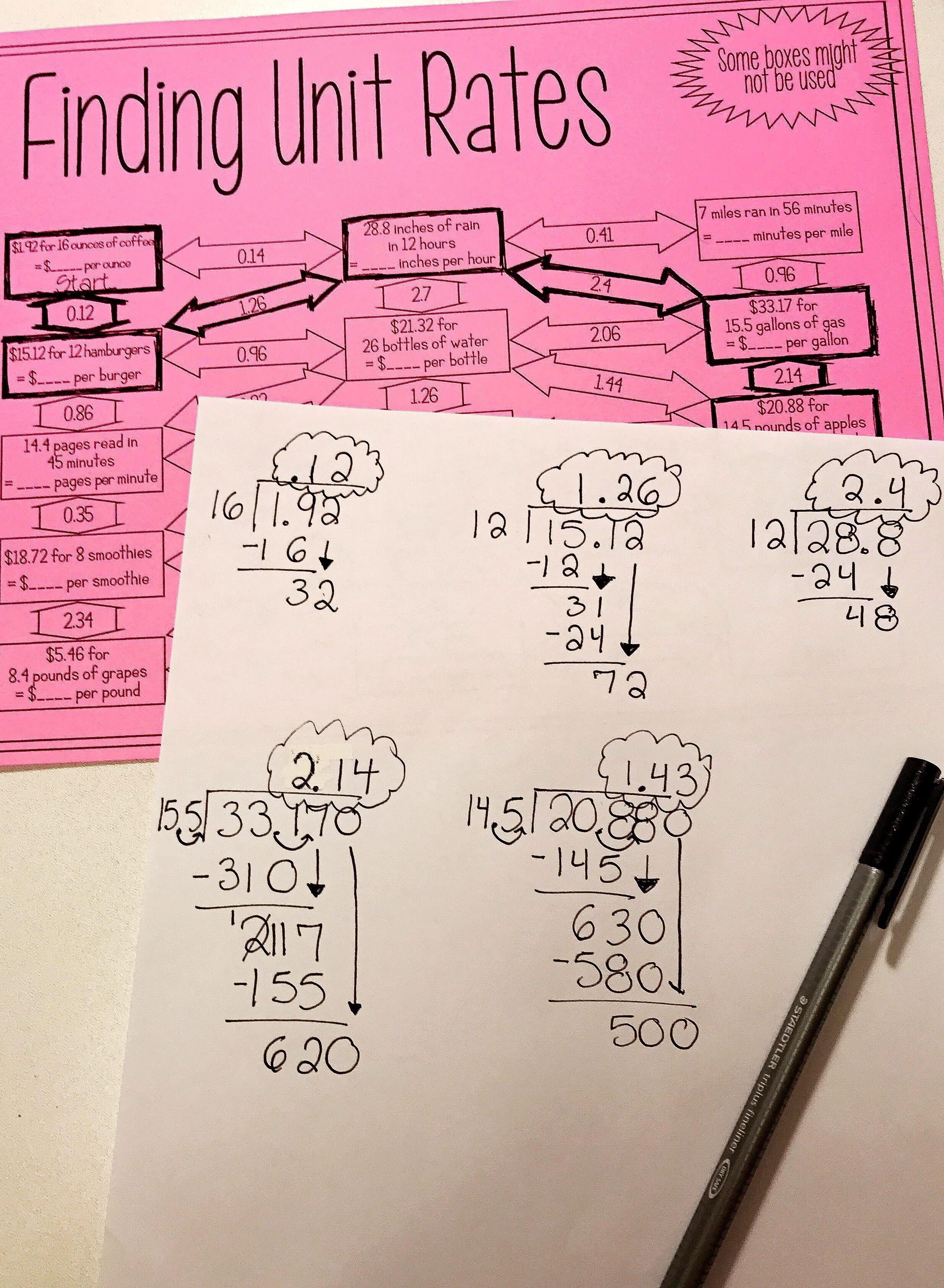 Unit Rates Maze Middle School Math Room Pinterest Math