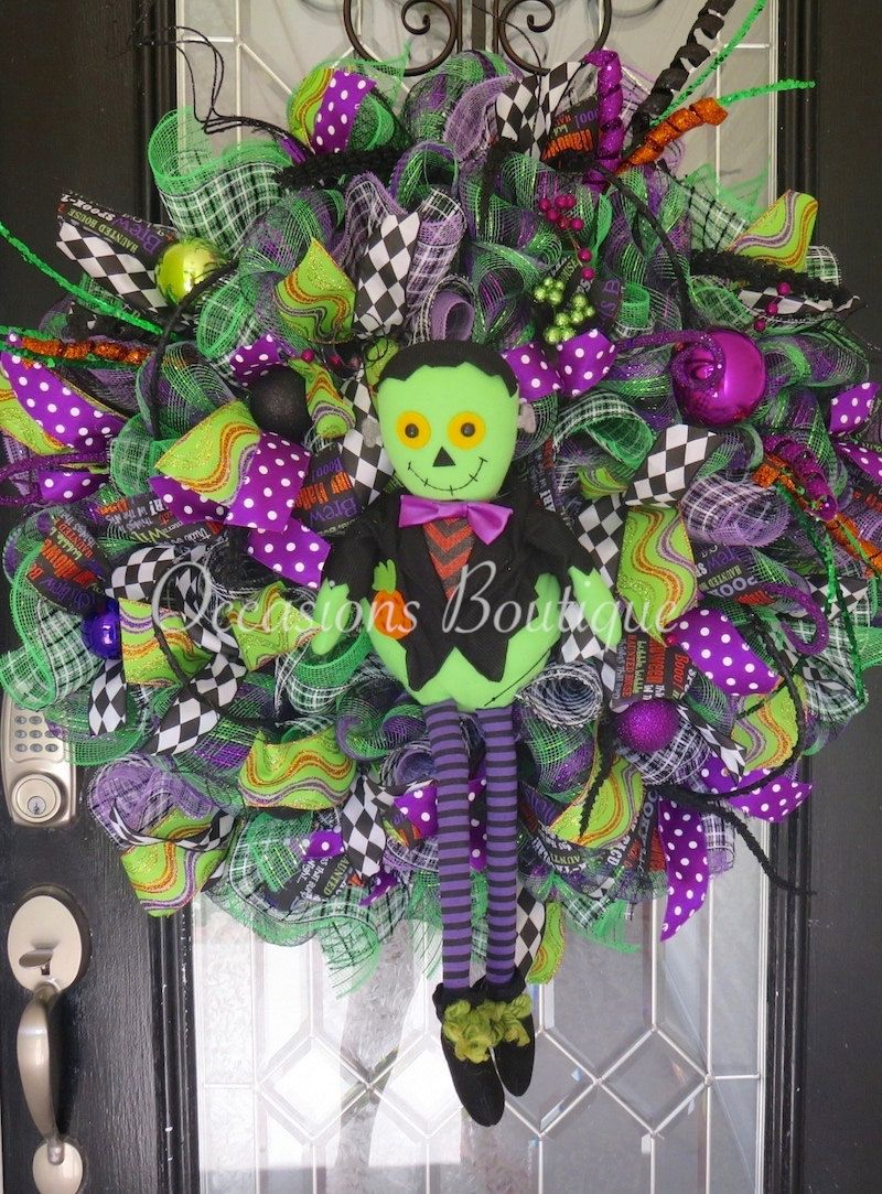 XL Halloween Wreath, Frankenstein, Halloween Party Decor, Fall - halloween front door decor