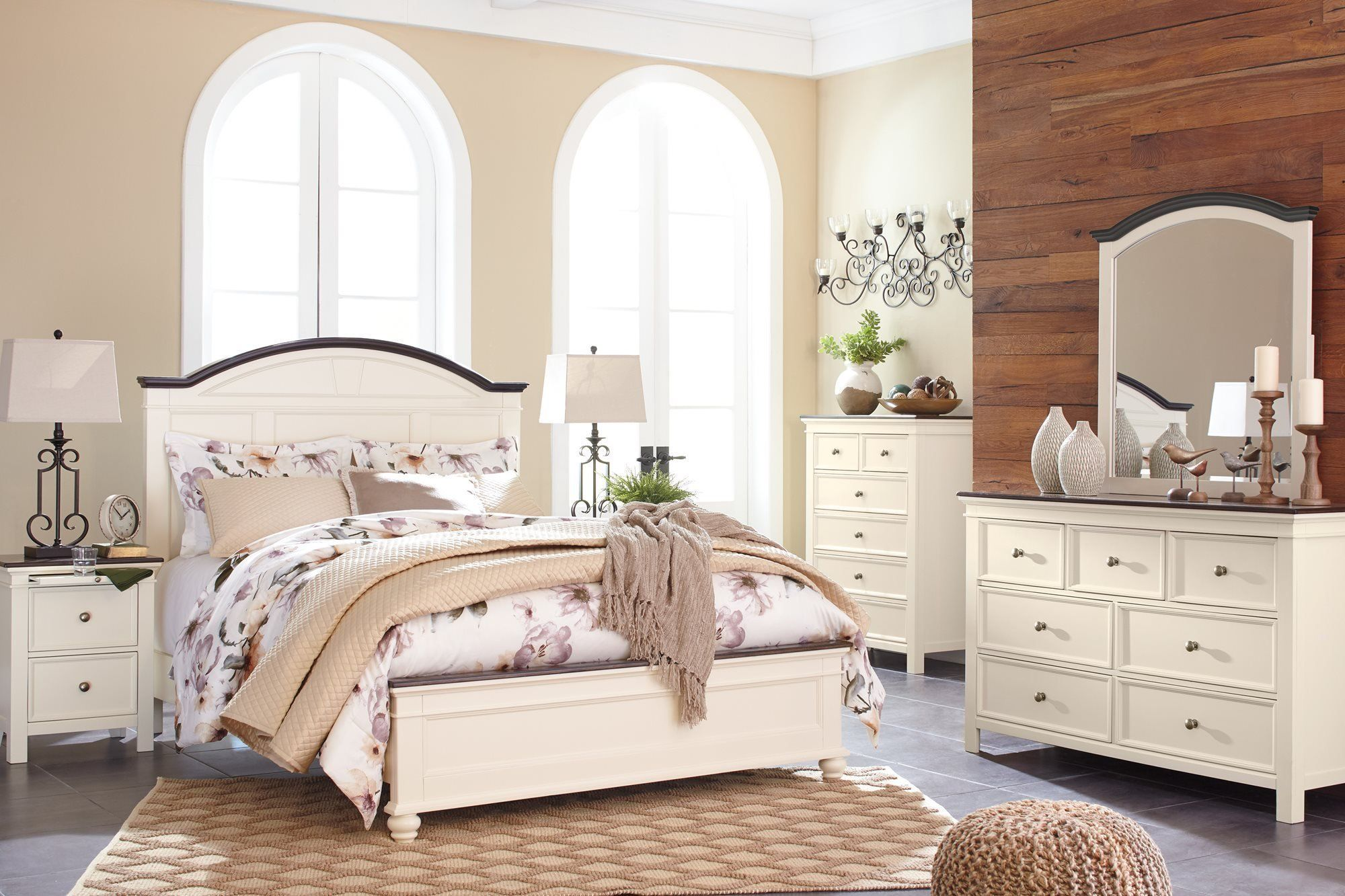 Ashley woodanville 5pc bedroom set queen panel bed dresser mirror one nightstand chest in white brown continue to the product at the image link