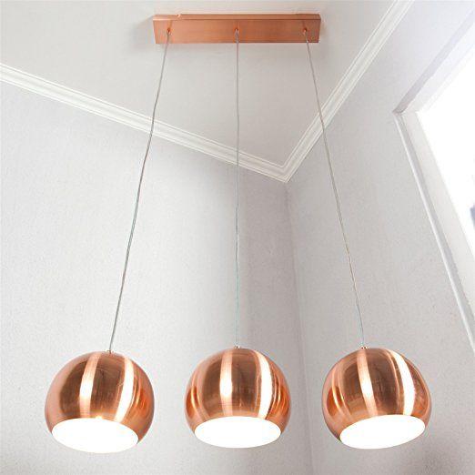 Best DESIGN H NGELEUCHTE COPPER TRIO Lampe Kupfer h henverstellbar kugelf rmige Lampenschirme