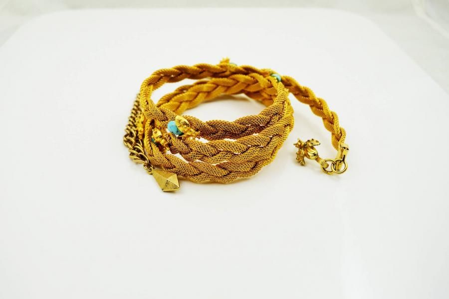 Latest Listing - Gold Mesh plaited belt with ladybird detail, £28 by by Evocative Vintage