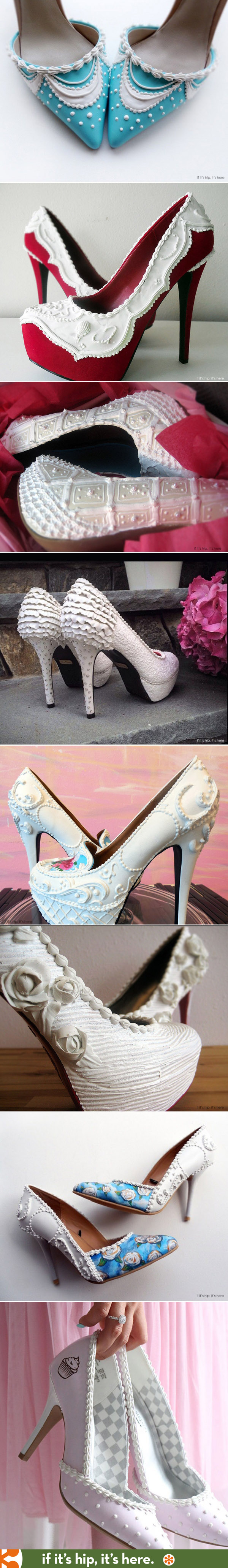 Custom Wedding shoes designed to match your cake! http://www.ifitshipitshere.com/wearable-confections-shoe-bakery-will-give-sugar-high/ #bride #wedding