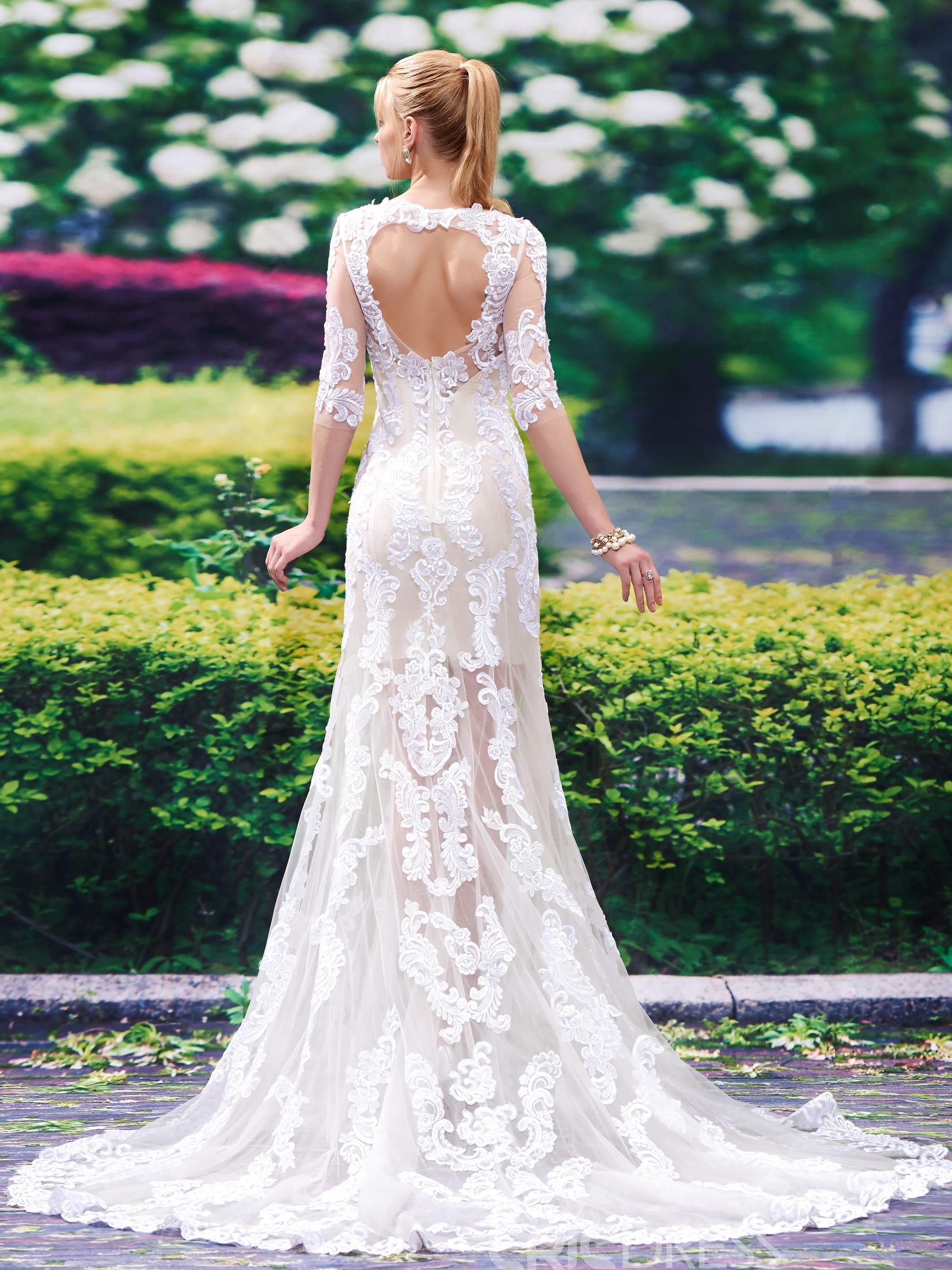 Charming scoop backless mermaid wedding dress f gowns