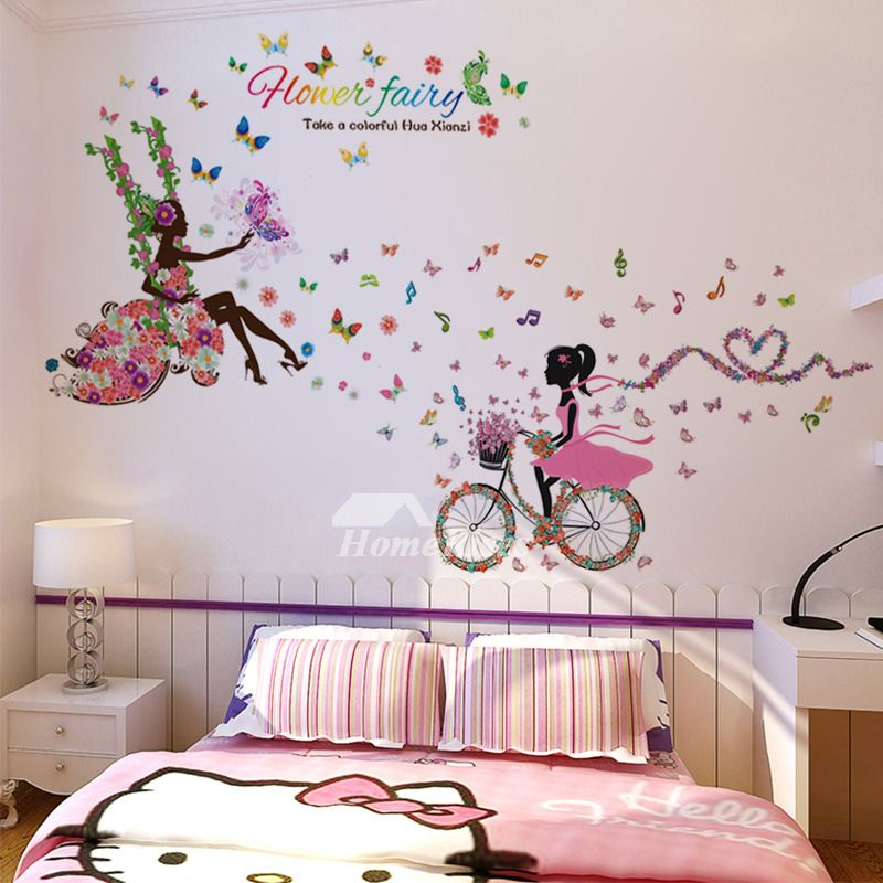 Best Girls Music Letter Bird Wall Stickers Pvc Kids Room Home 400 x 300