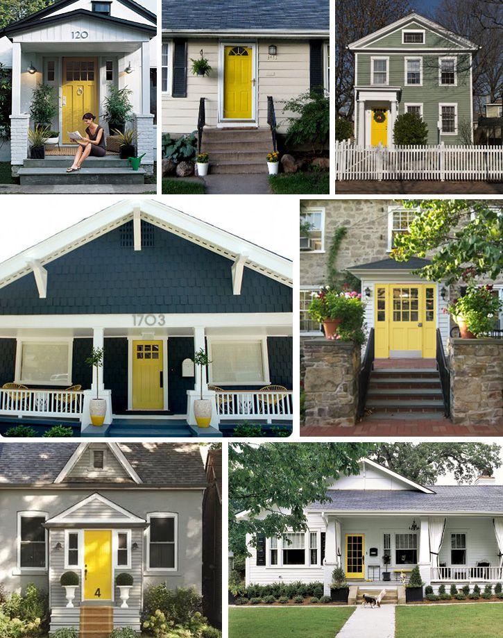 Yellow House Red Door Black Shutters grey house | grey shutters | yellow door | exterior | pinterest