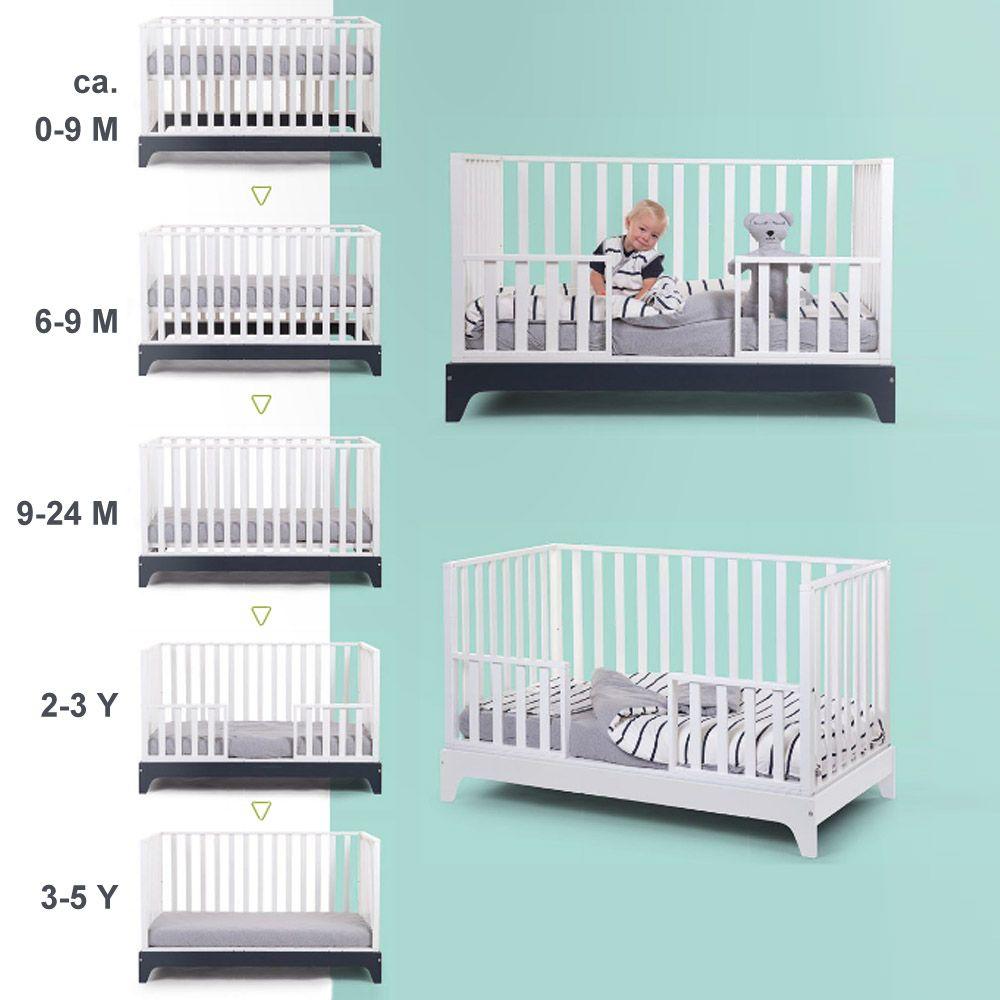 mitwachsendes babybett kinderbett juniorbett navy 70x140cm 0 6 jahre baby kinderbett