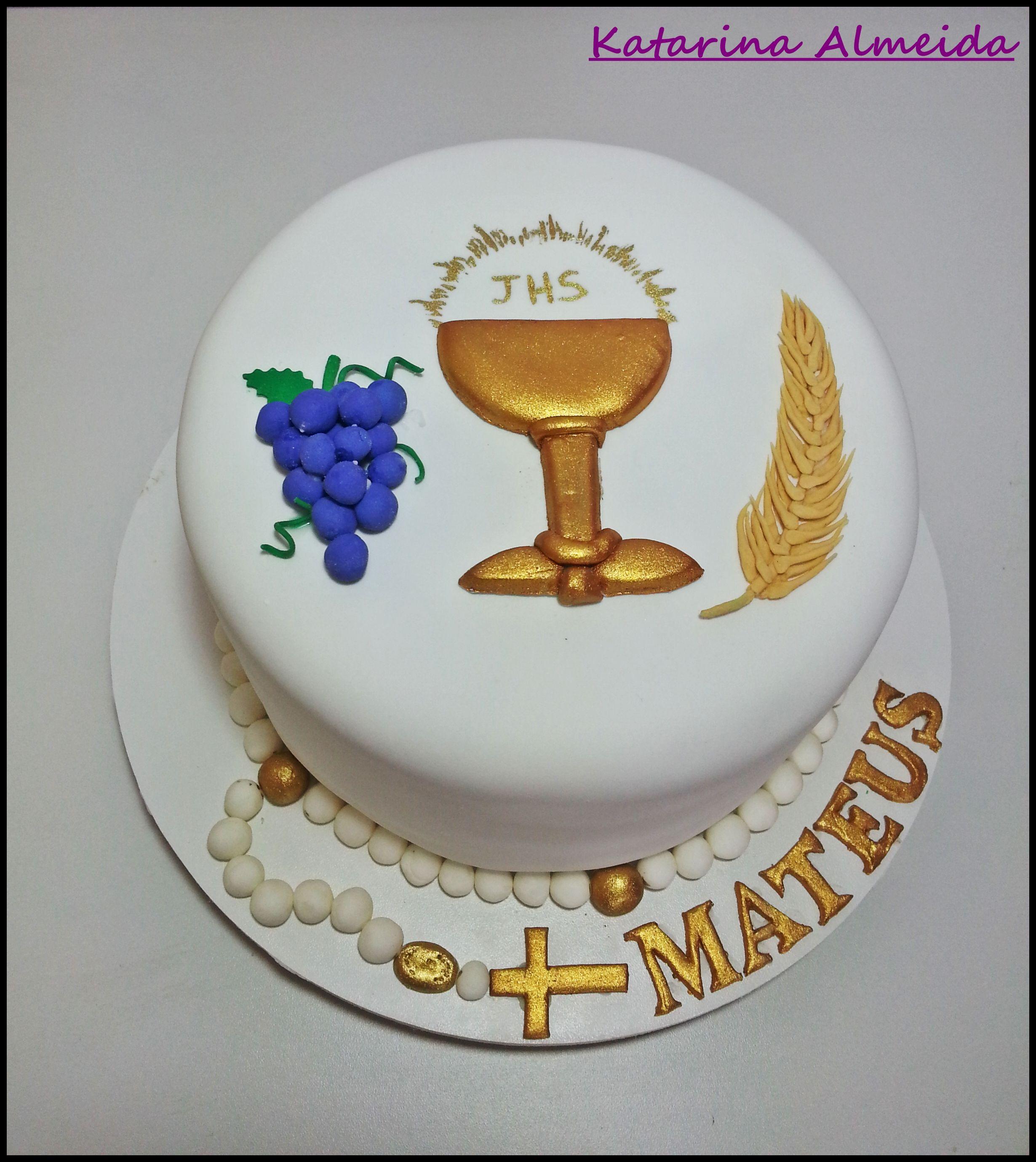 Bolo Primeira Comunh u00e3o Katarina Almeida Cake Designer Communion cakes, Birthday Cake e Cake