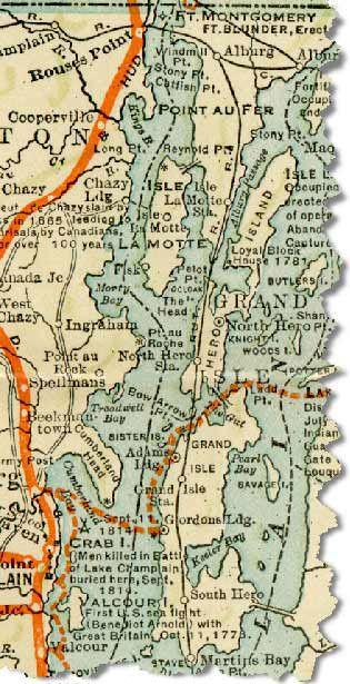 Map of the Lake Champlain Islands region in 1914 Bucket List
