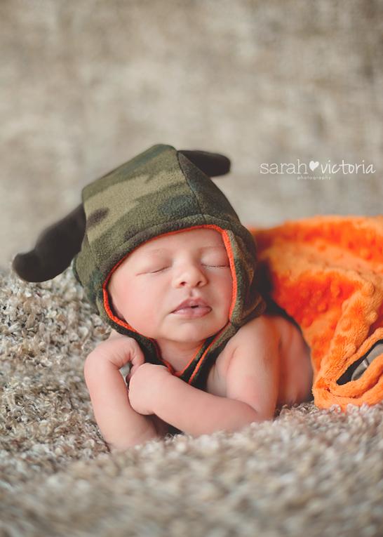 Newborn baby boy hunting camo deer park friendswood tx sarah victoria photography