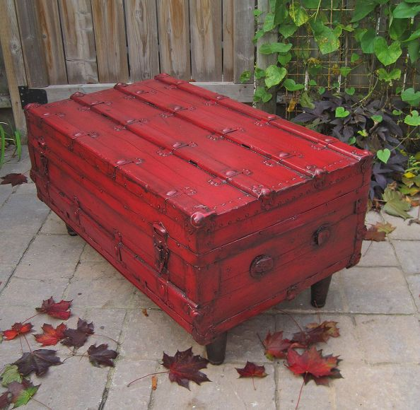 painted red furniture. red antique trunk to coffee table change the interior painted furniture