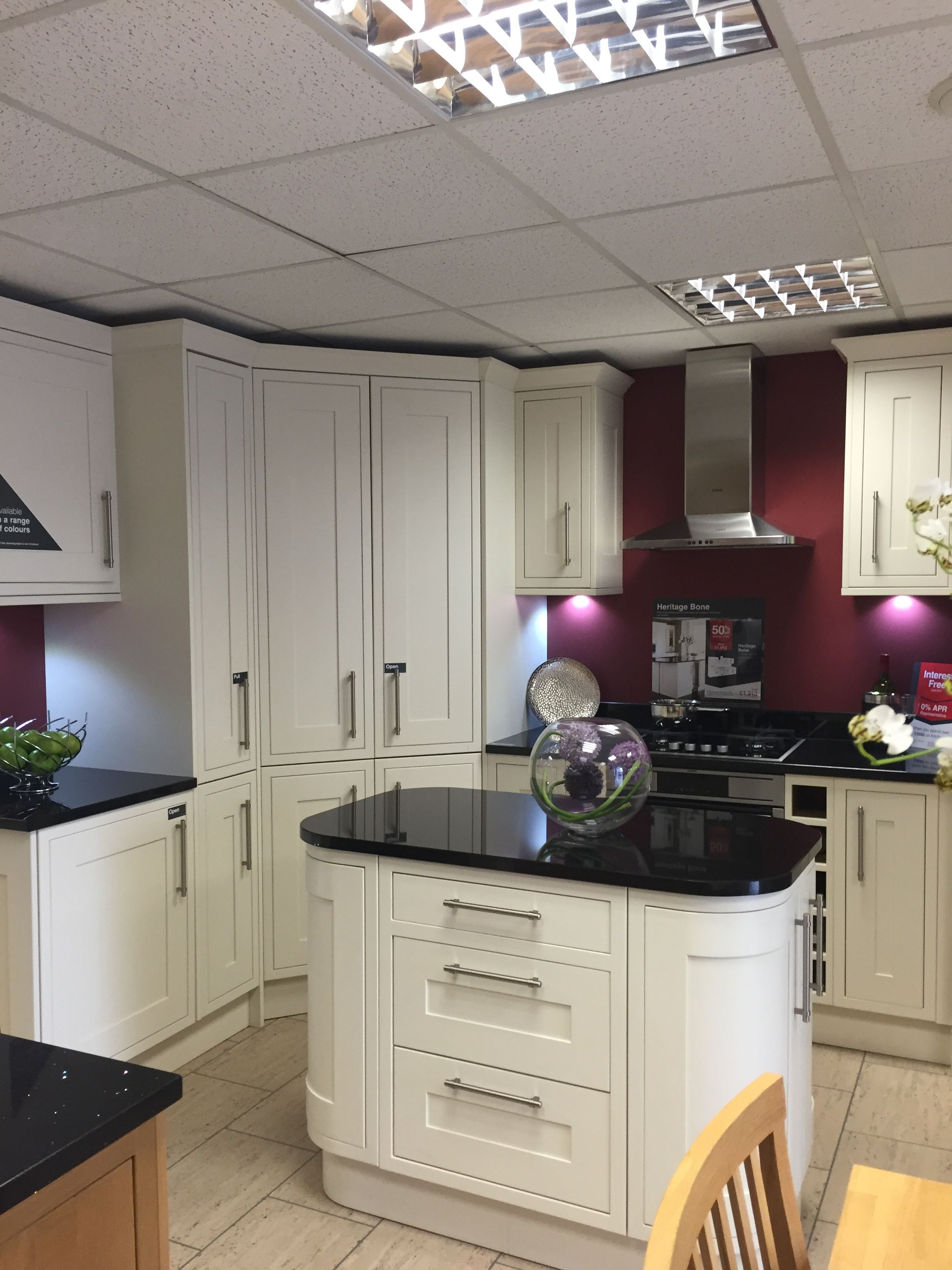 We Love This Kitchen Style And Layout Shaker Bone Wickes Without The Island Especially The Lard Kitchen Dining Living Kitchen Corner Cupboard Kitchen Design