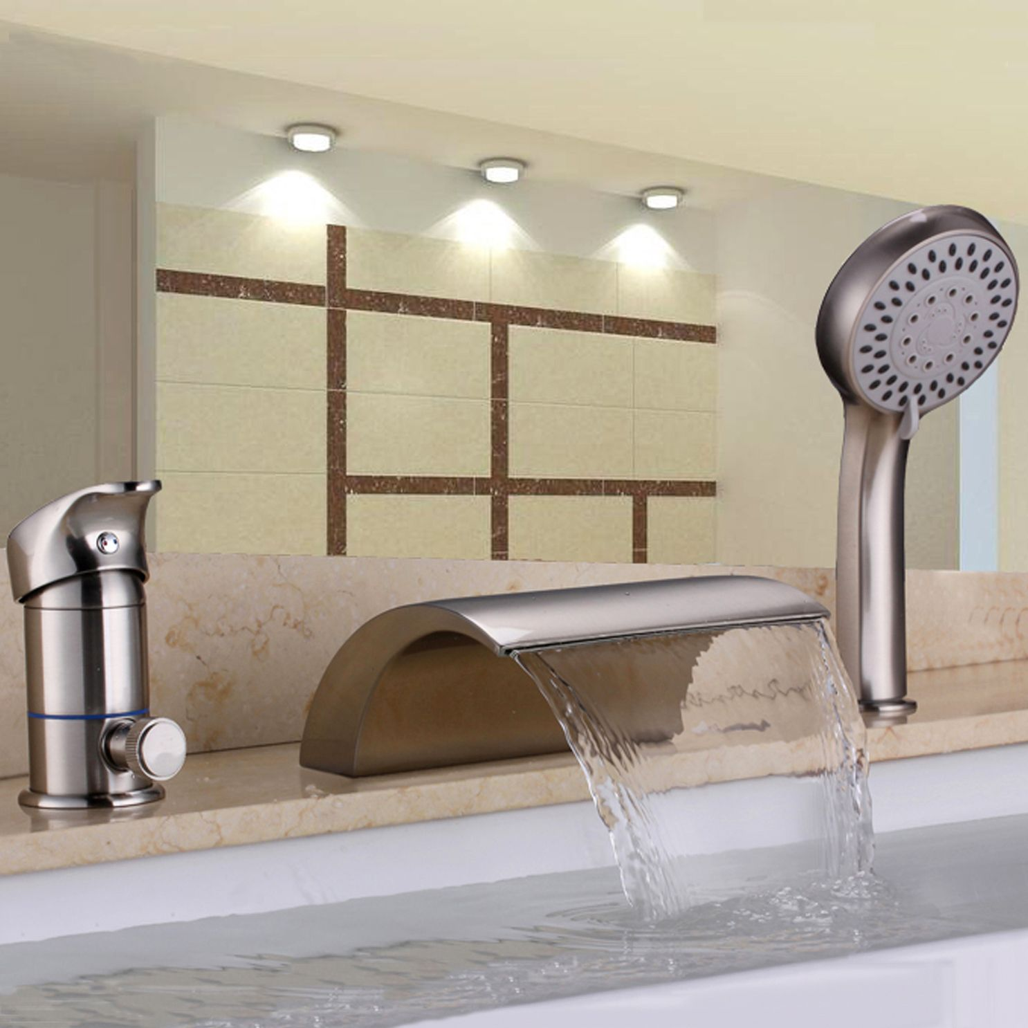 Waterfall 3 Hole roman tub faucet with hand shower in brushed nickel ...