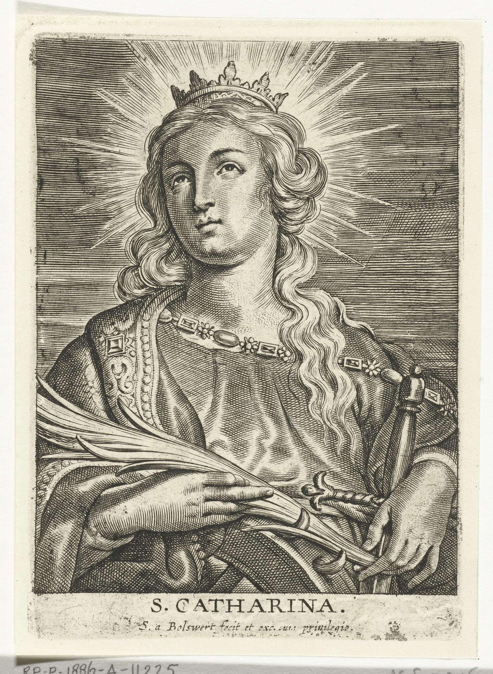Schelte Adamsz. Bolswert | Heilige Catharina van Alexandrië met wiel en zwaard, Schelte Adamsz. Bolswert, Peter Paul Rubens, 1596 - 1659 |