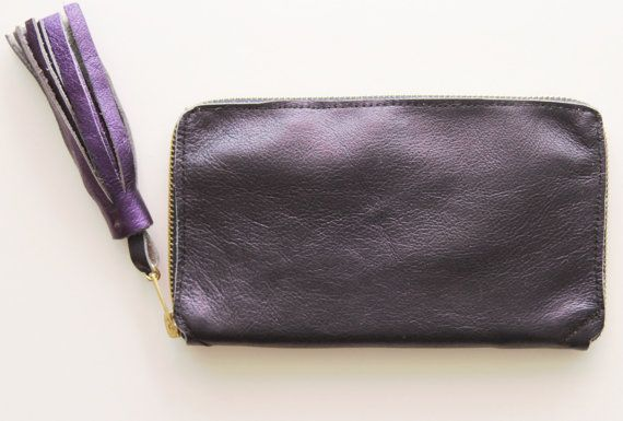 INDIGO / Large natural metallic leather  zippered  wallet
