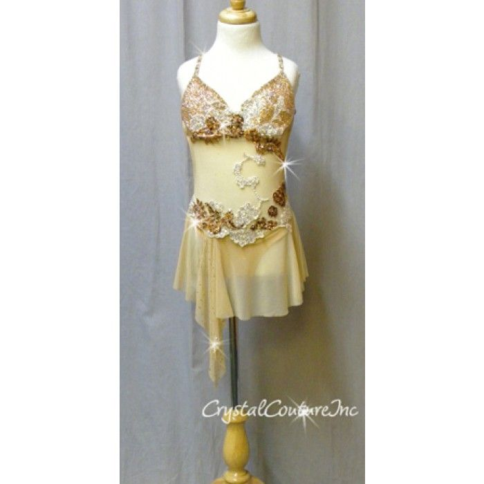 Lyric solo lyrical dance costumes : Encore Costume Couture | Nude Connected Bra-Top & Skirt with ...