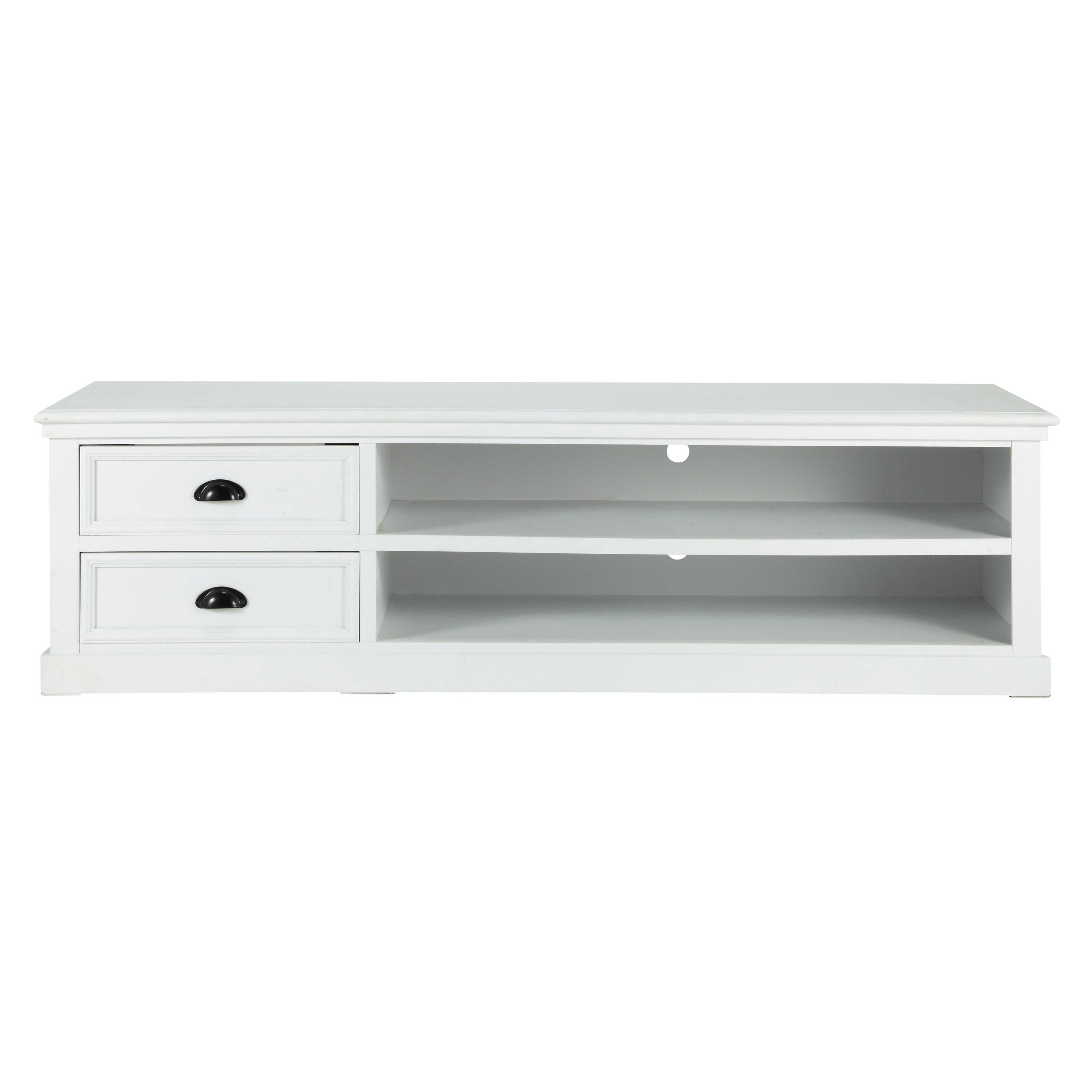 Meuble TV en pin blanc L 160 cm | Newport