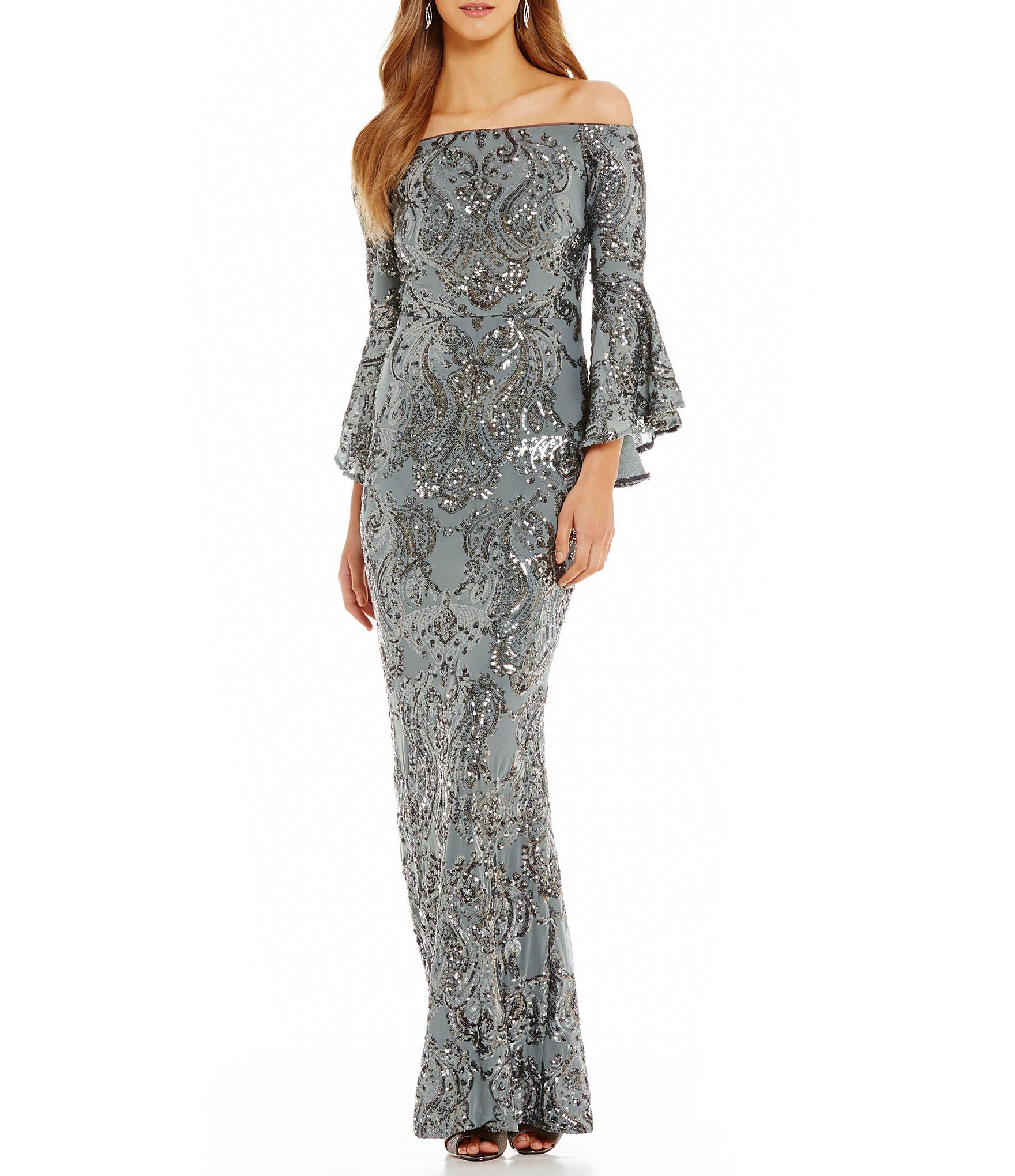 9fa1af55f84 Shop for Betsy   Adam Sequined Off-the-Shoulder Flutter Sleeve Sequined Gown  at Dillards.com. Visit Dillards.com to find clothing