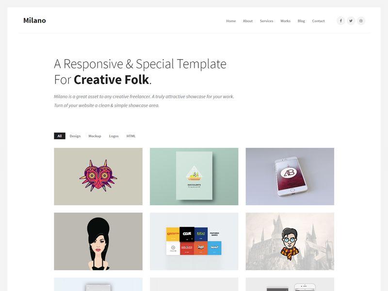 Milano \u2013 Creative Free HTML Template is a professional  minimalist - html template code
