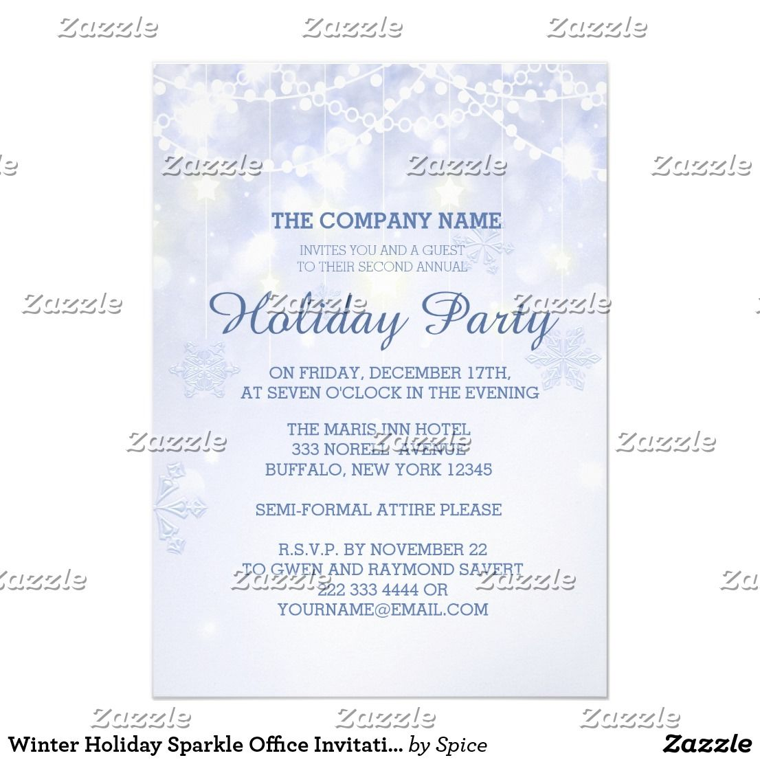Winter Holiday Sparkle Office Invitations Festive and elegant ...