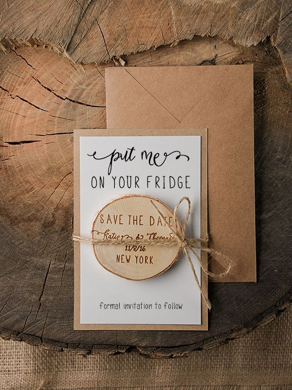Wedding Save The Date Card With Wooden Magnet Ideas