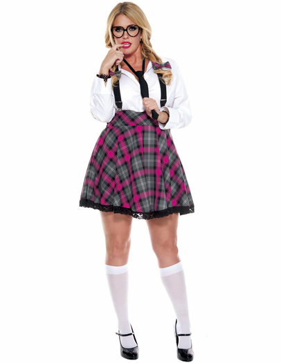 Plus velikost visoki razred Nerd seksi šolskih deklet kostum leta 2019 Halloween-4979