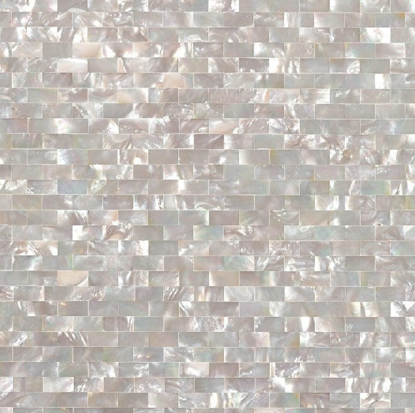 - White Butterfly Shell Mosaic Brick Subway Groutless Mother Of