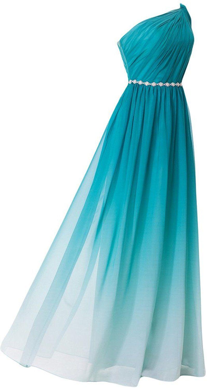 Missdressy Damen Chiffon Abendkleid Lang Ein-Traeger Falte A-Linie