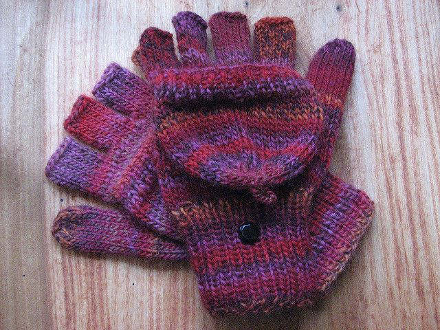 Free Pattern Knit Fingerless Gloves With Half Fingers And Mitten