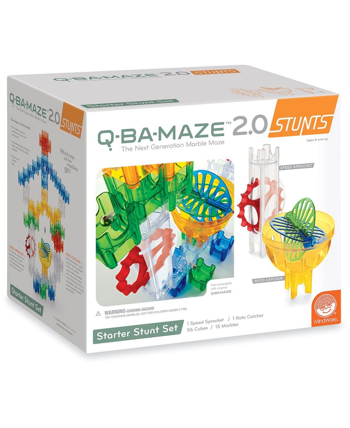 Q-BA-MAZE 2.0 Marble Catchers Mindware Stunt Box Maze Q BA Kids Toy Boys Girls