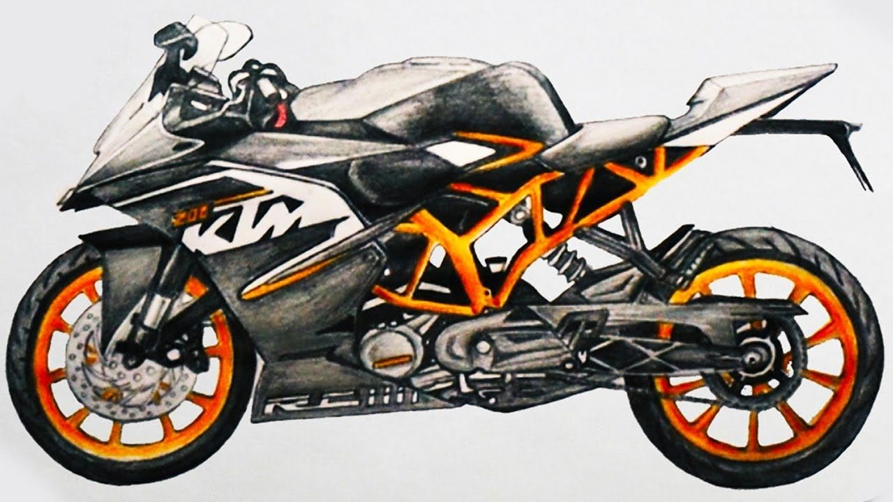 1280x720 How To Draw A Motorcycle Ktm Rc 200 Sports Bike Step By