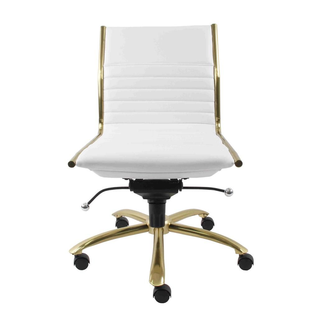 Eurostyle Dirk White Armless Low Back Office Chair White And Gold Chair Conference Chairs Furniture