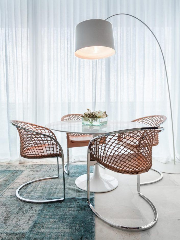 White Dining Table With Chairs And Arc Floor Lamp Dining Room