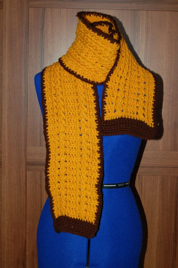 Classy Mustard Yellow and Brown Scarf by sueloopsandhoops on Etsy