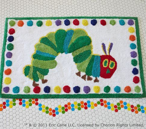 The Very Hungry Caterpillar Bath Mat Pottery Barn Kids For - Kids bath mat for small bathroom ideas