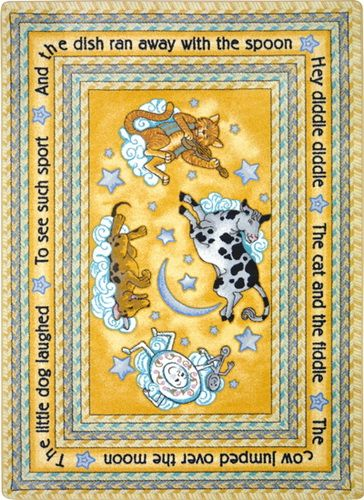 Joy Carpets 1474 Hey Diddle Diddle Rug Kids Rugs Hey Diddle Diddle Colorful Rugs