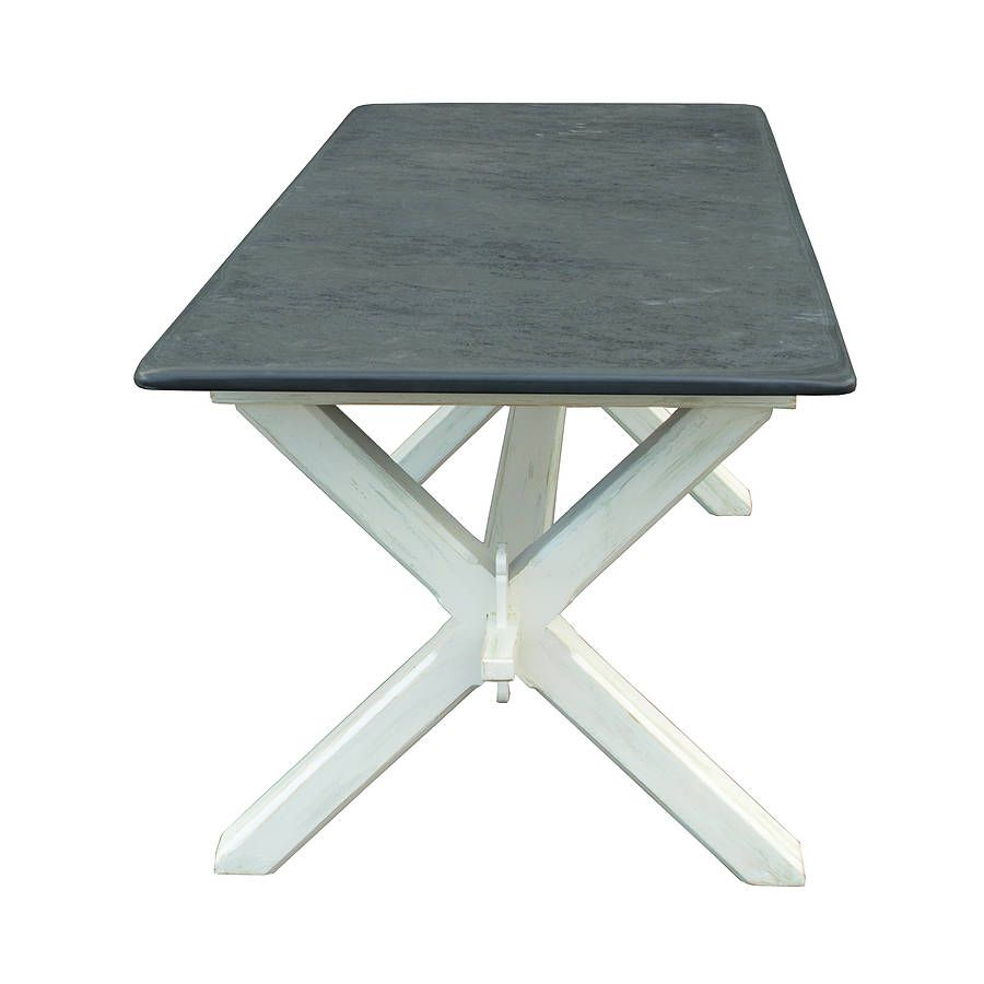 Painted Refectory Style Slate Top Table