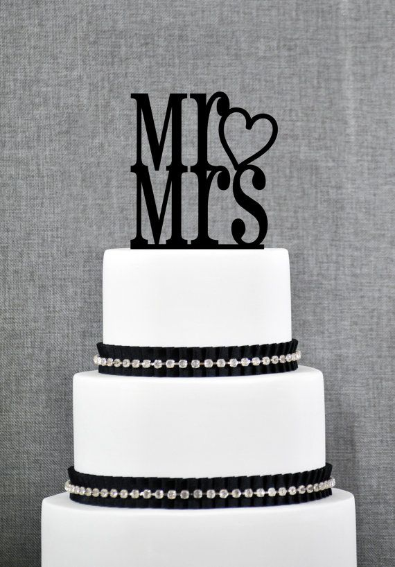 Mr And Mrs With Heart Traditional Elegant Wedding Cake Toppers In Your Choice Of Color