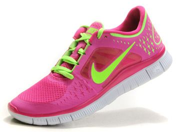 nike free run pink and neon green