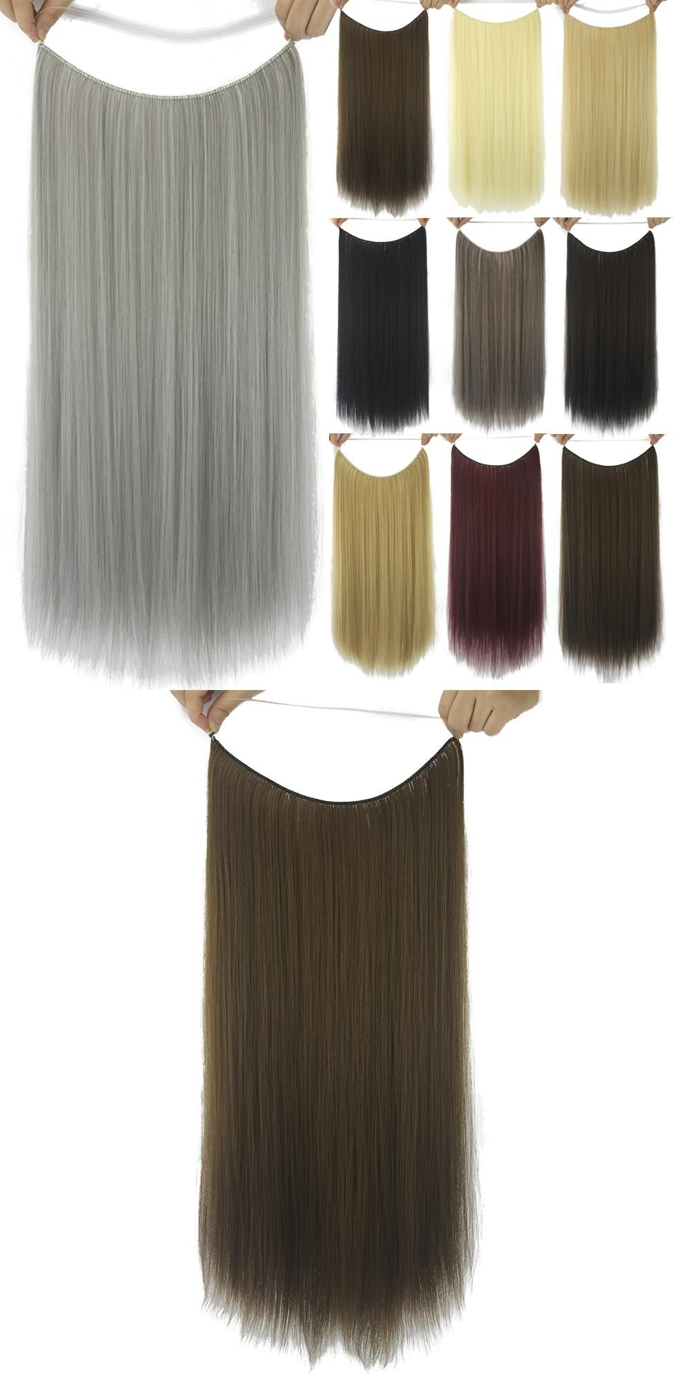 Soowee 10 Colors Long Straight Gray Black Synthetic Hair Extensions