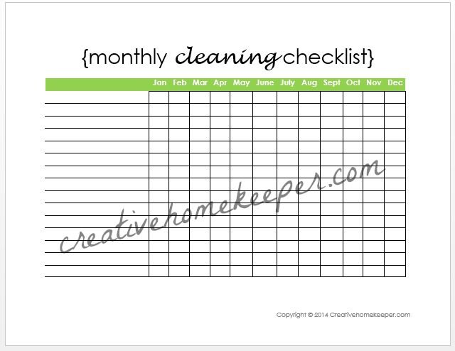 Monthly Cleaning Checklist Free Printable  Cleaning Checklist