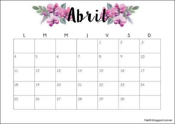 Calendario descargable abril 2016 imprimible printable - Calendario 2017 para imprimir por meses ...