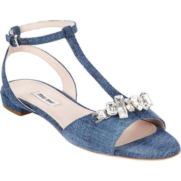 Miu Miu Crystal-detailed T-strap Sandals cute dressy flats!