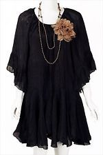 PLUS SIZE TUNIC 2X BABY DOLL BOHO  SOLID BLACK BUTTERFLY 3/4 SLEEVE LOOSE FIT